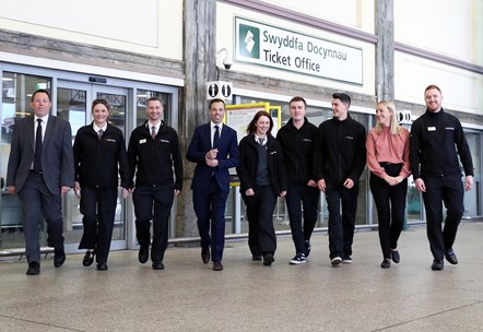 Colin Lea, Frances Norman, Mike Palfrey, Minister Ken Skates, Holly Flye, Nathan Currie, Lewis Williams, Alice Cowley and Jordan
