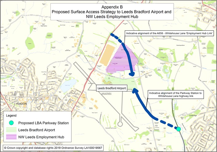 New North West Leeds Employment Hub and airport connectivity plans to be considered by senior councillors: appendixajanuaryebproposedsurfaceaccesslr-533958.jpg