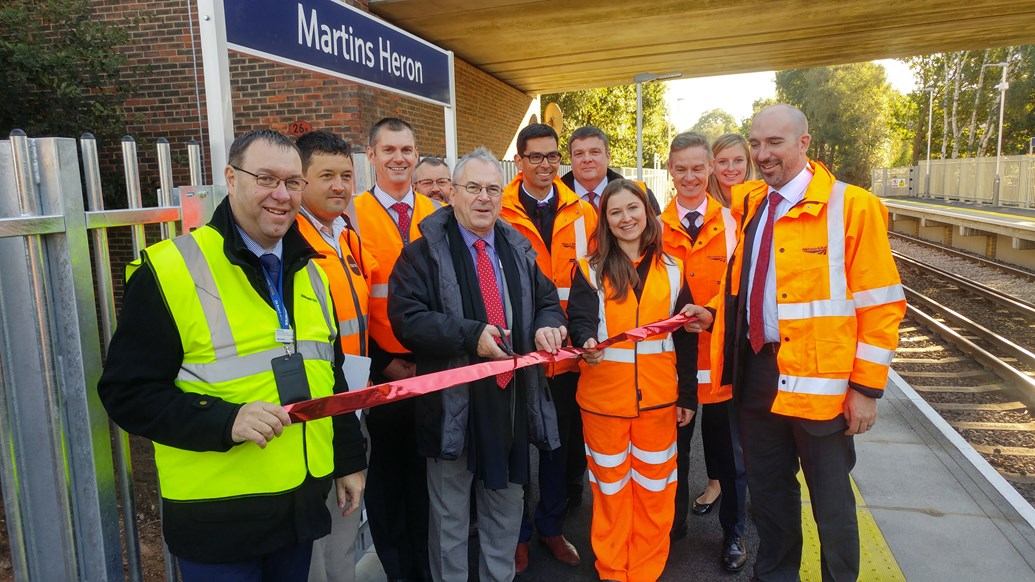 Longer platforms for longer trains: Network Rail completes Berkshire station upgrade: Sir Peter Hendy, Chairman of Network Rail, is joined by Stuart Kistruck, Network Rail's Route Managing Director, as wells as representatives from South West Trains and members of the project team to officially mark the opening of the new, longer platforms at Martins Heron station. Also photographed are: Dave Josey, South West Trains station manager; Tatiana Kotrikova, Network Rail scheme project manager; Adam Piddington, deputy customer service director, South West Trains; Zen Nichols, senior programme manager, Network Rail