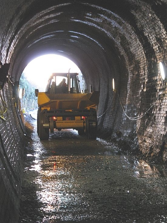 Machine working in the single-bored Marley Tunnel