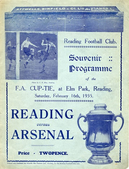 Reading Football Club Programme for the FA cup tie with Arsenal, 1935: Museum object Reference Number  – REDMG: 1984.140.136  Image ©Reading Museum