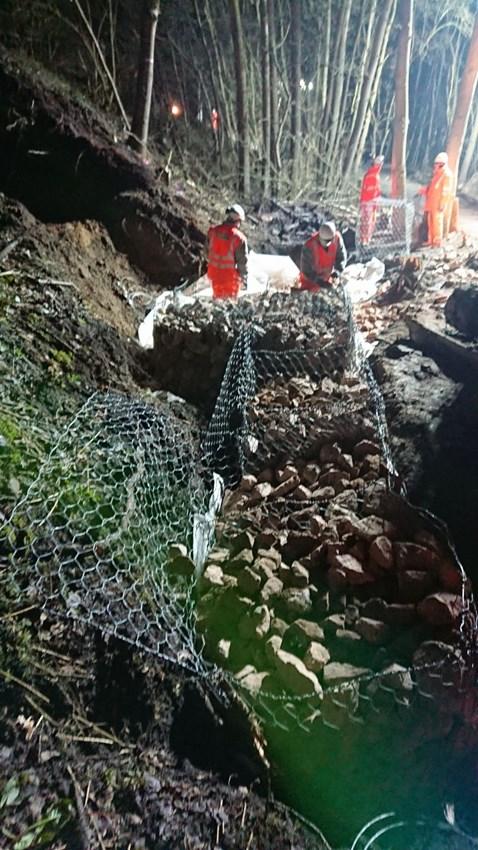 Work to repair the landslip on Clacton on Sea branch line