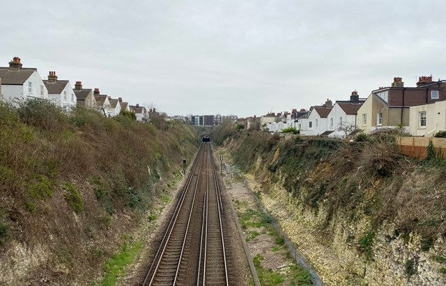 Changes to services between Littlehampton and Brighton as Network Rail engineers tackle landslip risk site at Hove: Hove cutting