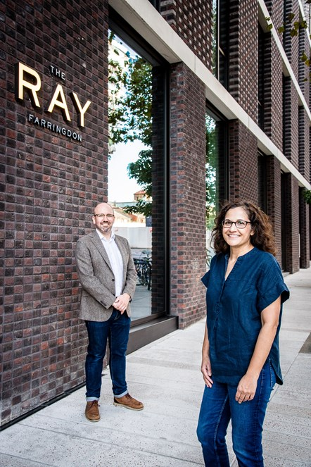 Cllr Asima Shaikh and Alex Elkins outside The Ray Farringdon, home to Better Space, the affordable workspace for local entrepreneurs