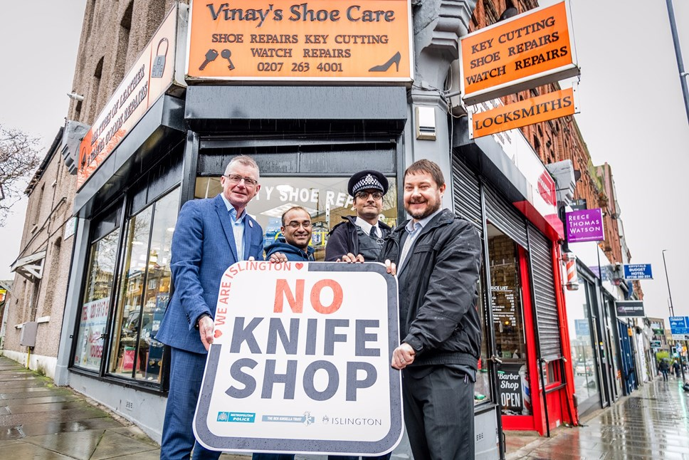 Islington Council launches UK's first 'No Knife Shop' scheme: Islington No Knife Shop 1