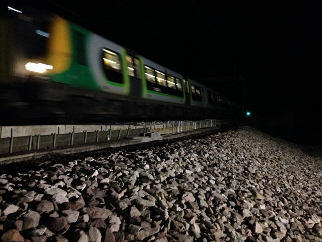 Network Rail reopens the railway at Leighton Buzzard six days after bank slip: 1st train at Leighton Buzard on new embankment 2