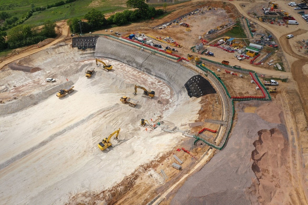 HS2 reveals striking new images of first tunnel launch site: South Portal Site Aerial One June 2020