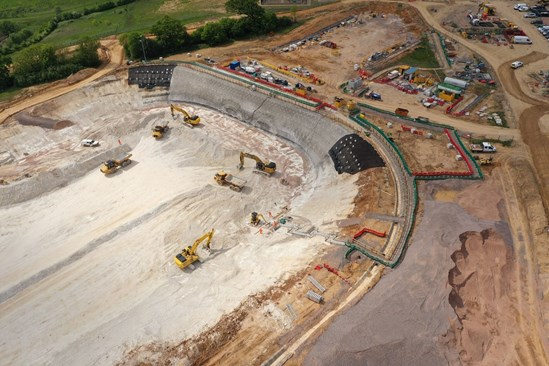 South Portal Site Aerial One June 2020: The South Portal Site is the largest construction site on Phase One (London to Birmingham) and HQ for main works contractor, Align JV. Launch point for the two Chiltern Tunnel TBMs, they will tunnel the longest bore on the HS2 project.