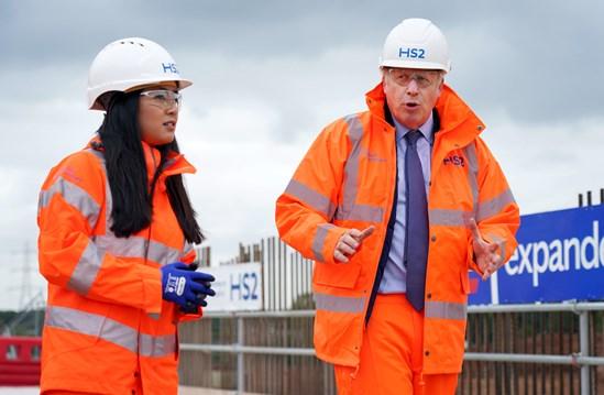 Prime Minister, Boris Johnson visits Interchange September 2020: Credit: Pippa Fowles / No10 Downing Street Prime Minister Boris Johnson visits one of the largest HS2 construction sites, the HS2 Interchange Site, Birmingham. HS2 announce the creation of 22,000 jobs. HS2 Graduate leads the tour. Internal Asset No. 18411