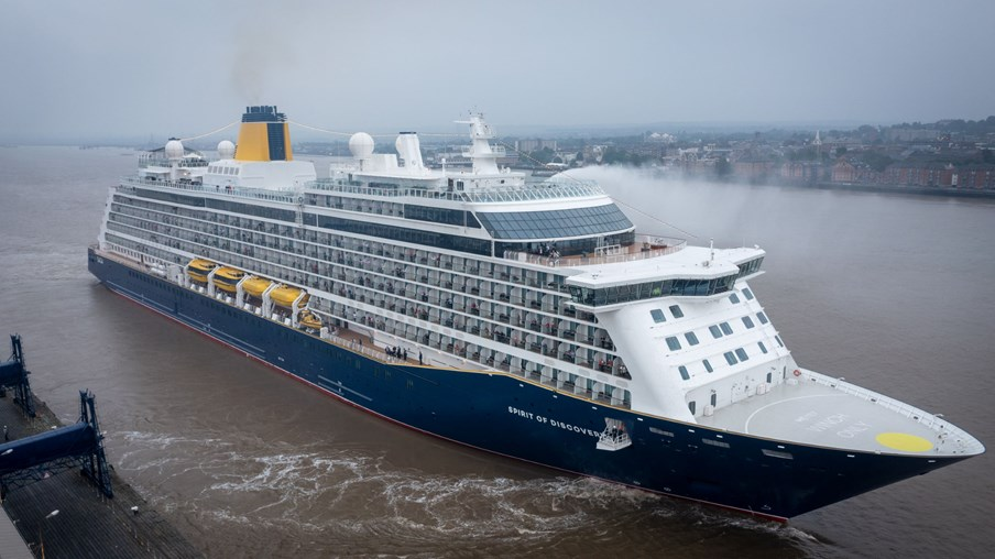 Spirit of Discovery leaves Tilbury on its first cruise since lockdown started in March 2020
