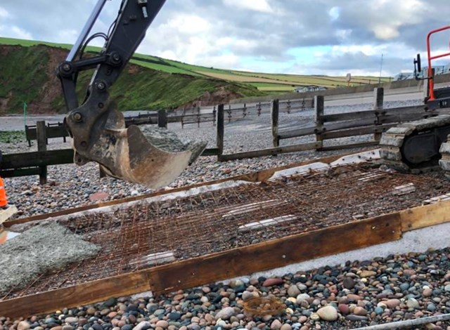 St Bees lifeboat ramp concrete being poured