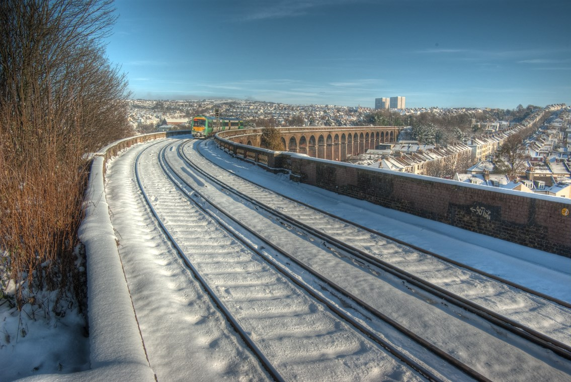 London Road viaduct, Brighton (2): Snow covered railway bridge - after winter weather