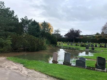 Clovenside Cemetery flooding - Winter 2020