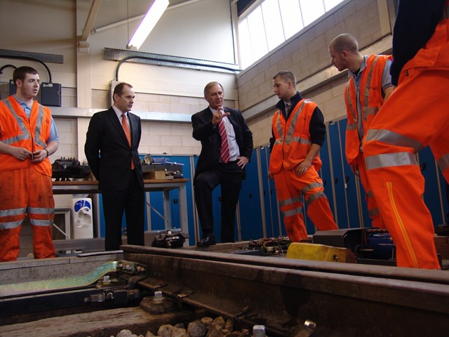 Transport Secretary Geoff Hoon Network Rail chief executive Iain Coucher visit  Network Rail's apprentice training centre, Gosport 001