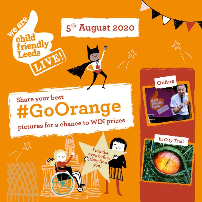 Go Orange and join Child Friendly Leeds Live Online - August 5: 18266 CFL Event Instagram 1080x1080 VIS02[2]