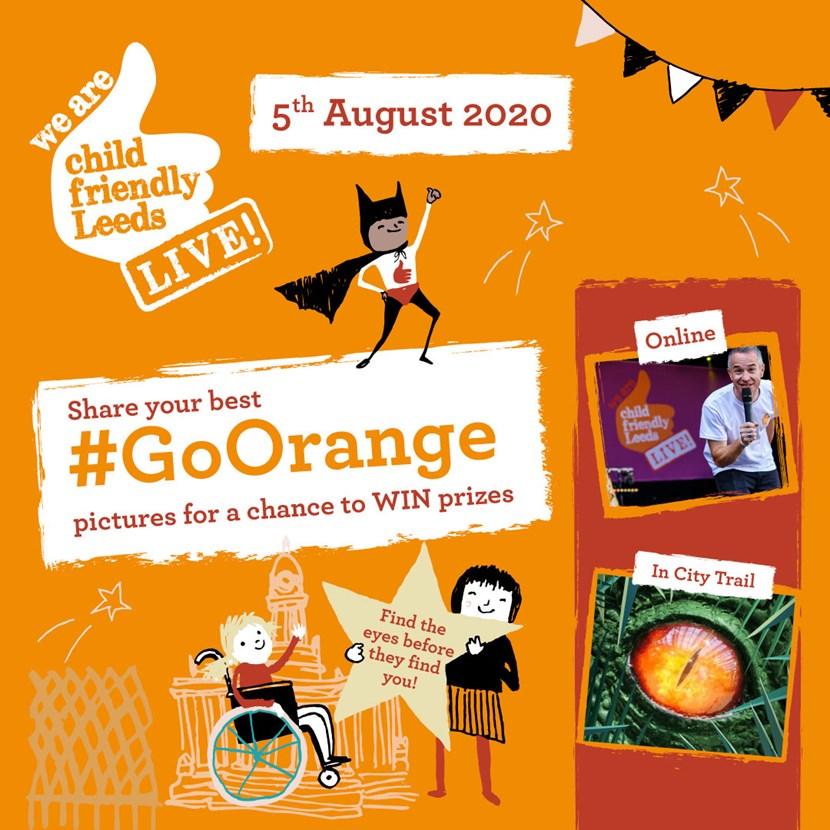 Go Orange and join Child Friendly Leeds Live Online - August 5: 18266 CFL Event Instagram 1080x1080 VIS02[2]