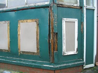 Stalybridge buffet bar - the damaged exterior: Damaged exterior of the old conservatory