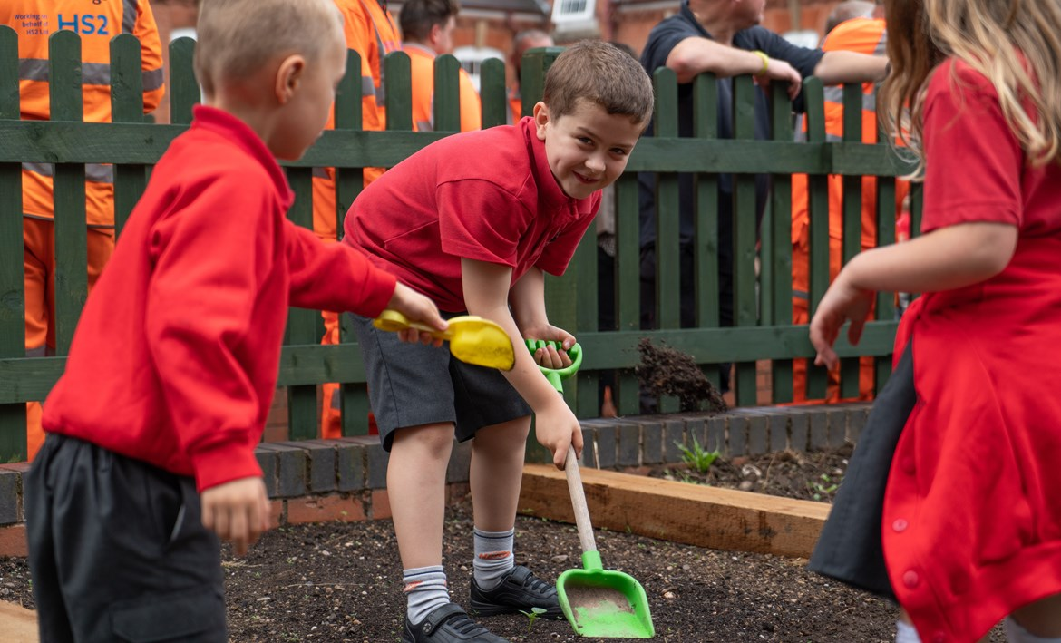 HS2 contractor creates new outside play area for Balsall Common Primary School: Balsall Common Primary School new play area 1