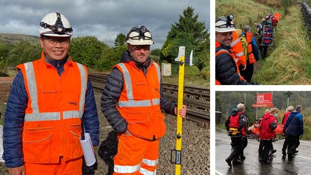 'Heroes in hi-vis' - railway workers save 81-year-old blackberry picker: Peak Forest rescue composite