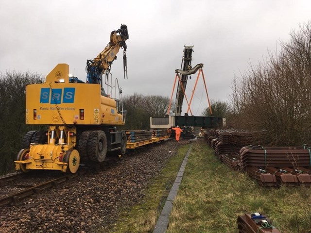 Six days of rail improvement work successfully completed on the Heart of Wessex line: New deck unloaded at site