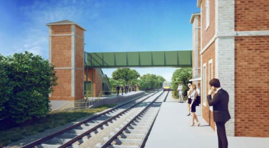 Artist impression of the new lifts and bridge at Ham Street Station view 2