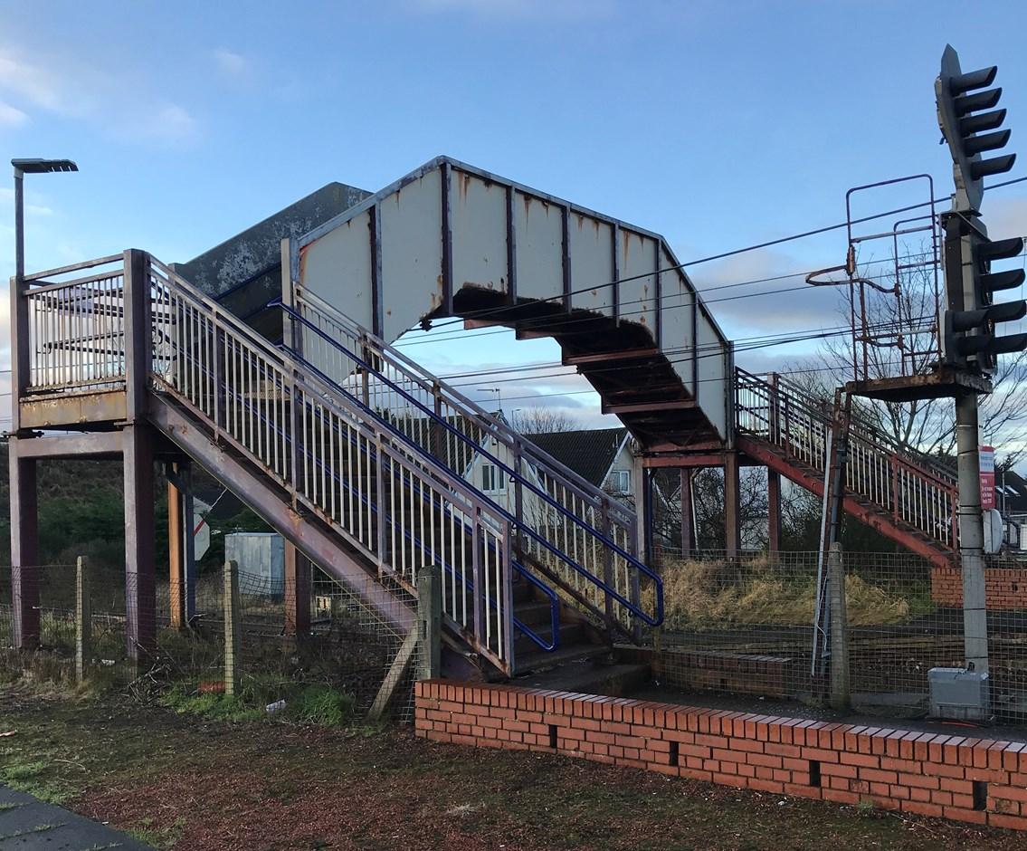 Three Ayrshire station footbridges get a paint job: Barassie Station Footbridge before Hi Res-2