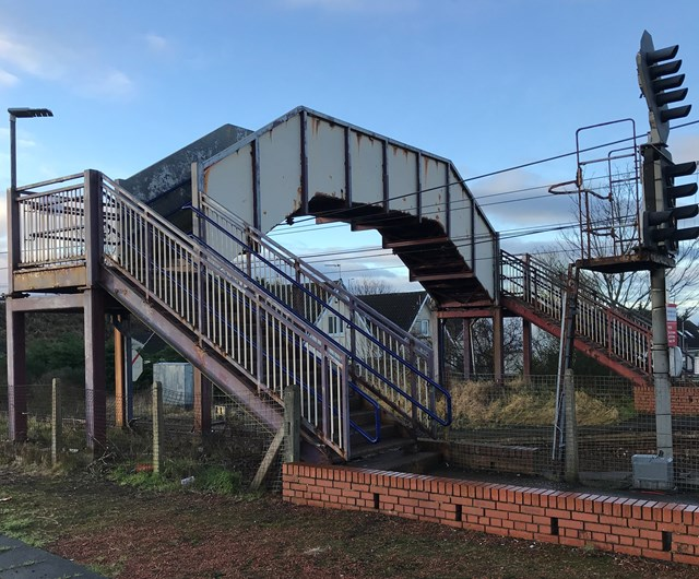 Three Ayrshire station footbridges get a paint job: Barassie Station Footbridge before Hi Res-2