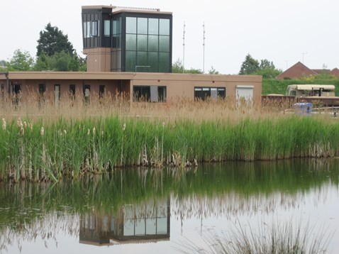 Whitemoor Yard - pond and control tower