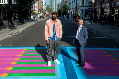 Pedestrian crossings are transformed with a burst of colour to celebrate the return of London's creative festivals: Yinka Ilori and Sadiq Khan, Bring London Together