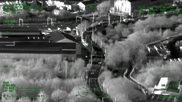 Thermal image of track approaching Wolverhampton station - Credit: Network Rail Air Operations team