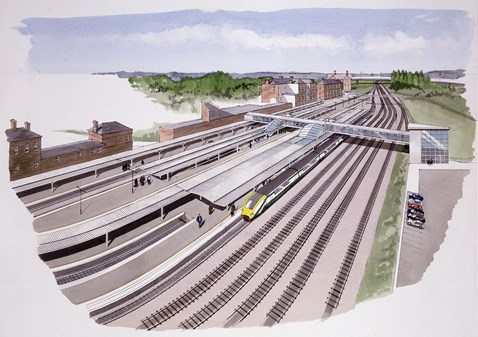New canopies at Derby station (aerial)