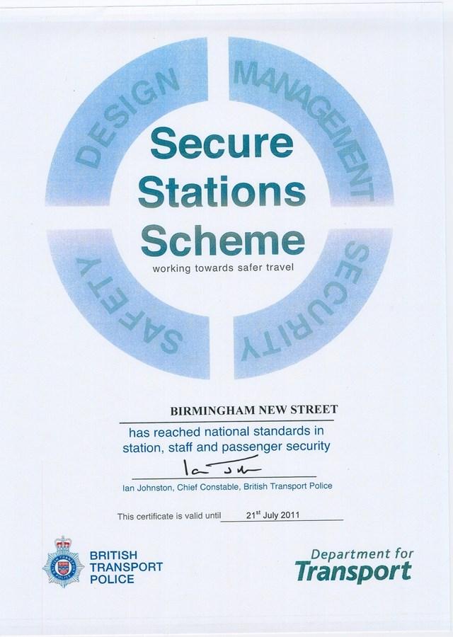 Birmingham New Street Secure Station Certificate