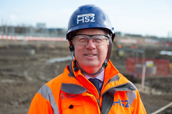 Mark Thurston at Old Oak Common railway station March 2020: Credit: Tony Kershaw Mark Thurston, CEO, construction, activity, Old Oak Common, site, augmented reality, headset, interview, London media, plans, PPE Internal Asset No. 15233