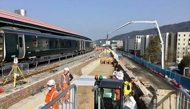 All change at Swansea station as reconstruction of longer platform 4 gets underway: Swansea platform 4