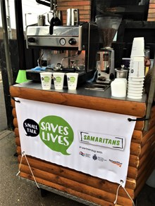 Small Talk Saves lives coffee cart at Tile Hill station