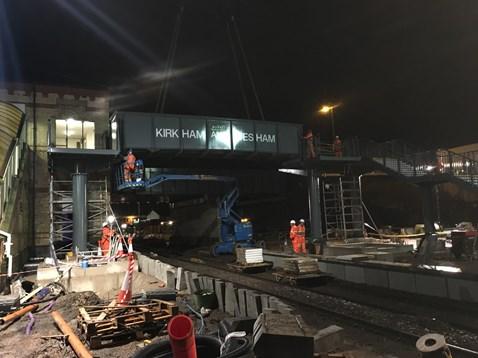 Preston to Blackpool upgrade continues as new footbridge is installed at Kirkham & Wesham station: Kirkham and Wesham bridge lift
