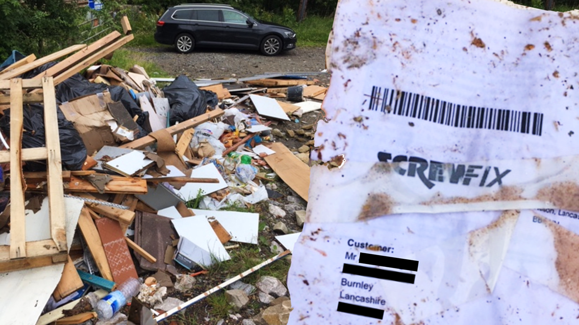 Railway fly-tipper fined thousands after home address found in waste: Burnley fly tipping composite address redacted