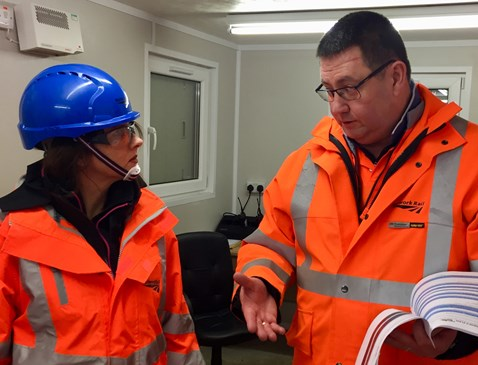 Trudy Harrison MP with Network Rail planning manager Adrian Brookes