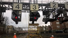 Signalling gantry near London Paddington