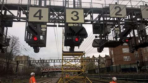 Signalling gantry near London Paddington