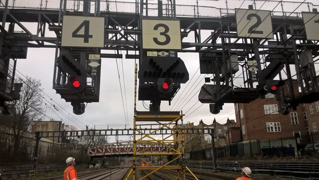 Network Rail's Western route reveals five year £multi-billion plan to improve the railway and increase services in the Thames Valley and Oxfordshire: Signalling gantry near London Paddington
