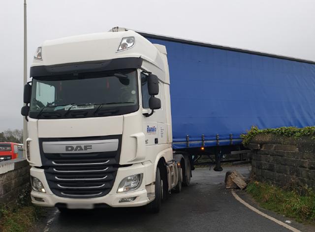 The lorry wedged on the bridge near Galgate