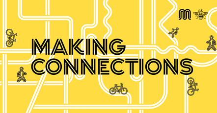 Bee Network - Making Connections: Graphic of the Greater Manchester cycling and walking network, which includes the words making connections.