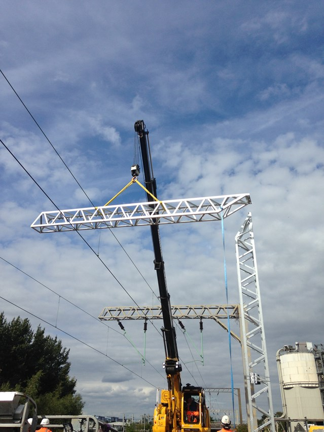 Rugeley Trent Valley to Walsall electrification work is well underway: Chase line electrification - Walsall - Copy