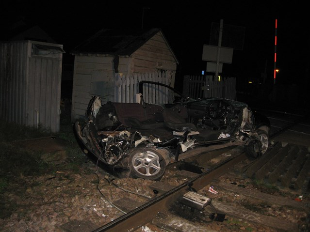 NO MORE EXCUSES FOR LEVEL CROSSING MISUSE IN ANGLIA: Remains of car after smash with train at Sandhill level crossing near Cambridge
