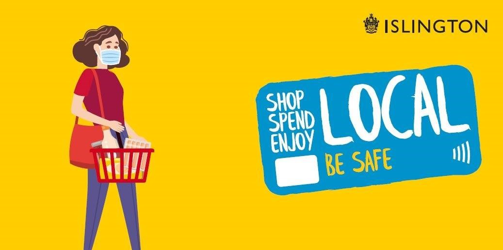 Shop Local, Be Safe Graphic with shopper with basket and face mask