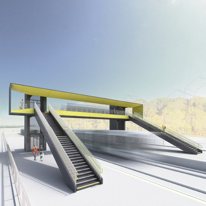 Winner Announced in the Network Rail Footbridge Design Ideas Competition: Gottlieb Paludan Architects' winning design in Network Rail footbridge competition