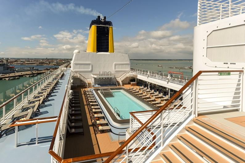 Saga Cruises' Spirit of Adventure - Lido, sun deck and funnel