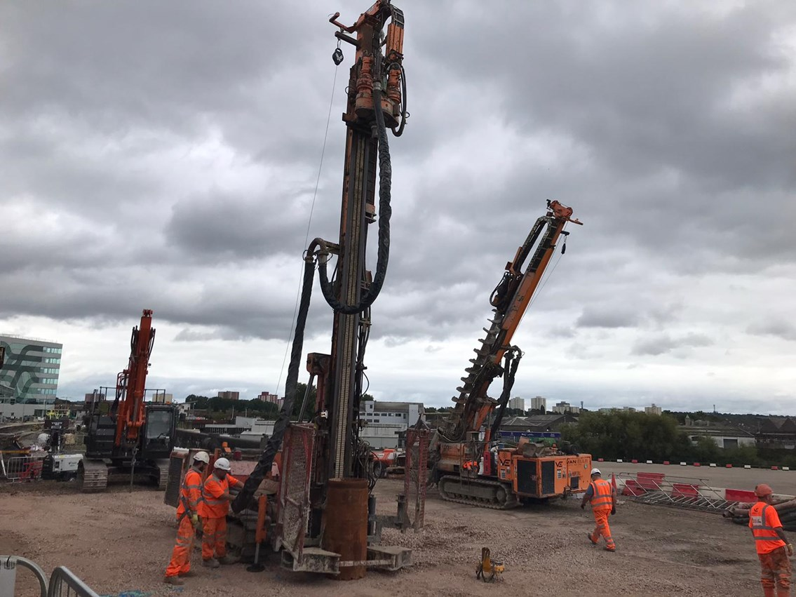 The large drills used to deliver the piling