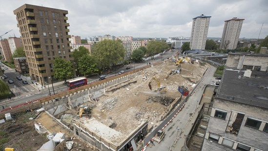 Site clearance at Euston Station: The site of the old BHS depot west of Euston being cleared for the construction of a new high speed station